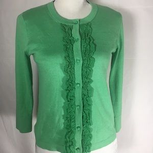 Kate Spade Live Colorfully Green Ruffle Cardigan